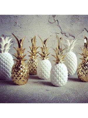 Bloomingville Pineapple White Gold Pineapple Decor White Ceramic Pineapple Decor