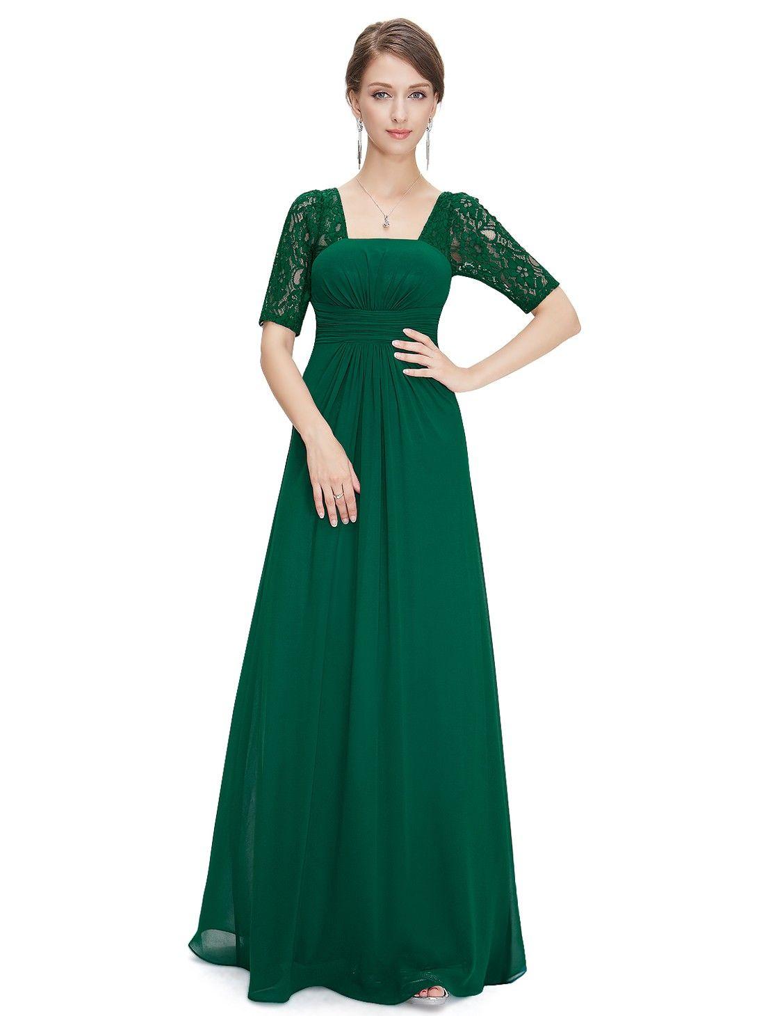 Half Sleeve Empire Waist Evening Dress   Big day 2019   Pinterest