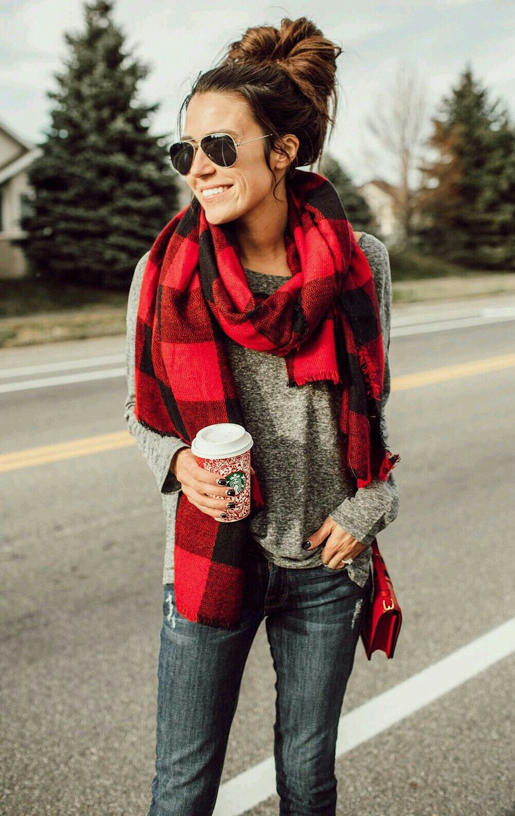 Flannel shirt outfit ideas  Red and black perfect for an xmas winter weekend  Closet