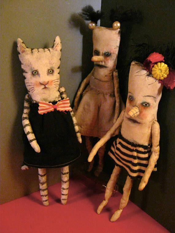 a cat art doll in black linen dress sandy mastroni