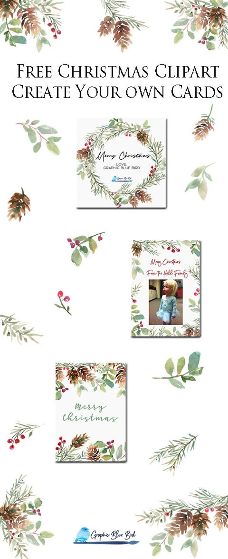 Christmas Watercolor Greenery Free Watercolor Clipart Etsy In 2020 Christmas Watercolor Christmas Card Templates Free Christmas Cards Free