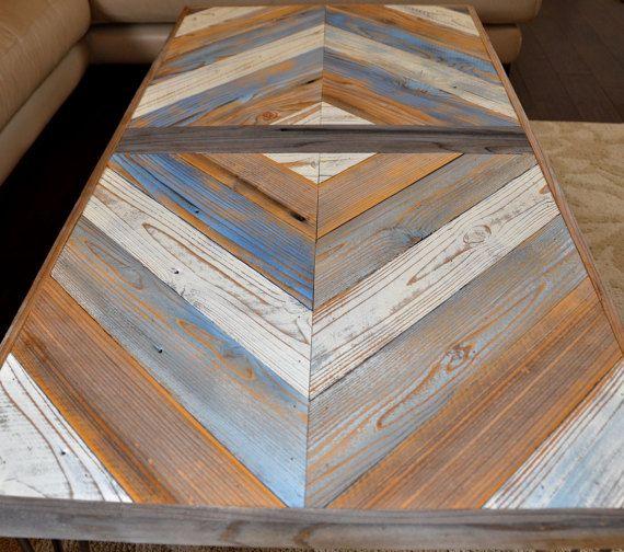 Chevrons Coffee Table Table Basse Recupere En Bois Chevron