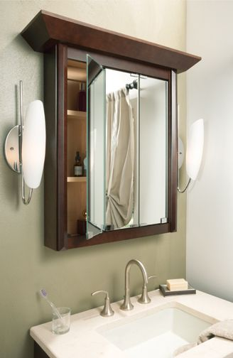 Tri Fold Mirror Medicine Cabinet You Can Use For Make Up Etc Modern Designer Suite Luxton Cherry Sienna