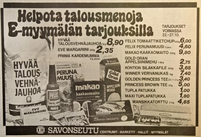 Ruokamainos kertoo omasta ajastaan. Tämä E-osuusliike Savonseudun ilmoitus on julkaistu Länsi-Savossa 22. lokakuuta 1979 | Länsi-Savo