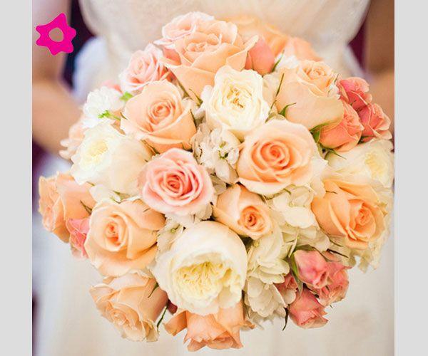 Bouquet Sposa Pesca.Bouquet Sposa Con Rose Cipria Bouquet Da Sposa Matrimonio Pesca