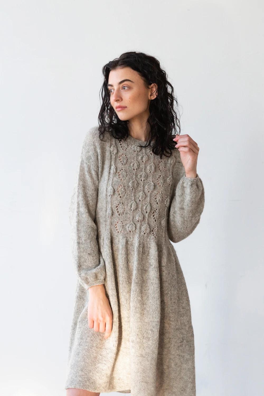 Sweetfern Knit Dress Pattern Sweater Gathered Sleeves [ 1500 x 1000 Pixel ]