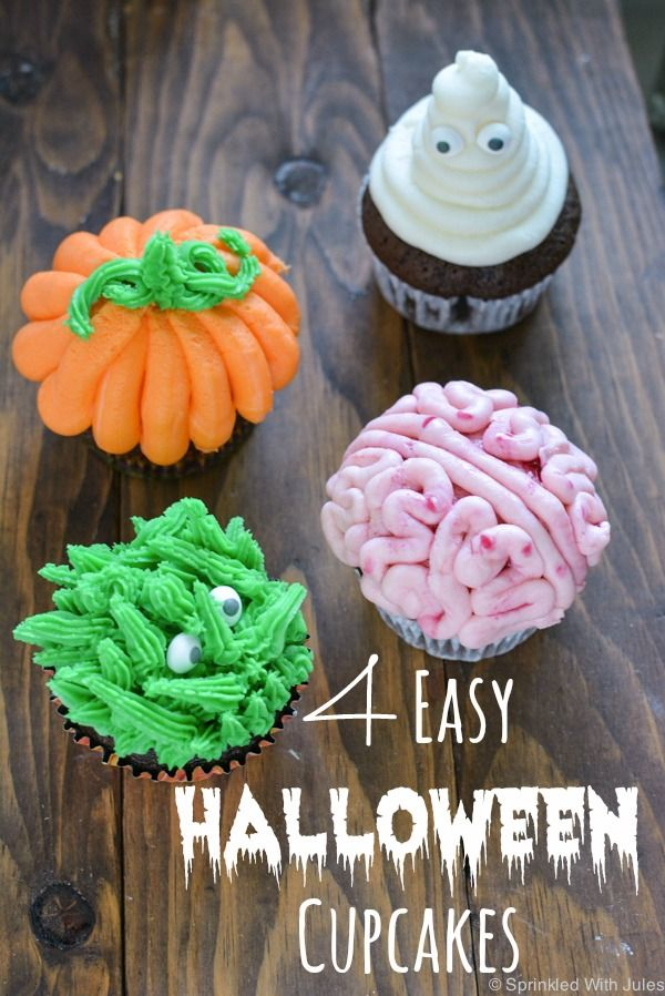 4 easy halloween cupcake ideas - Easy Halloween Cupcake Decorating Ideas
