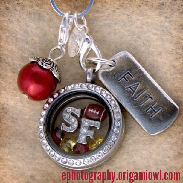 Any 49ers fans out there? - Origami Owl - Medium Silver Locket with Crystals