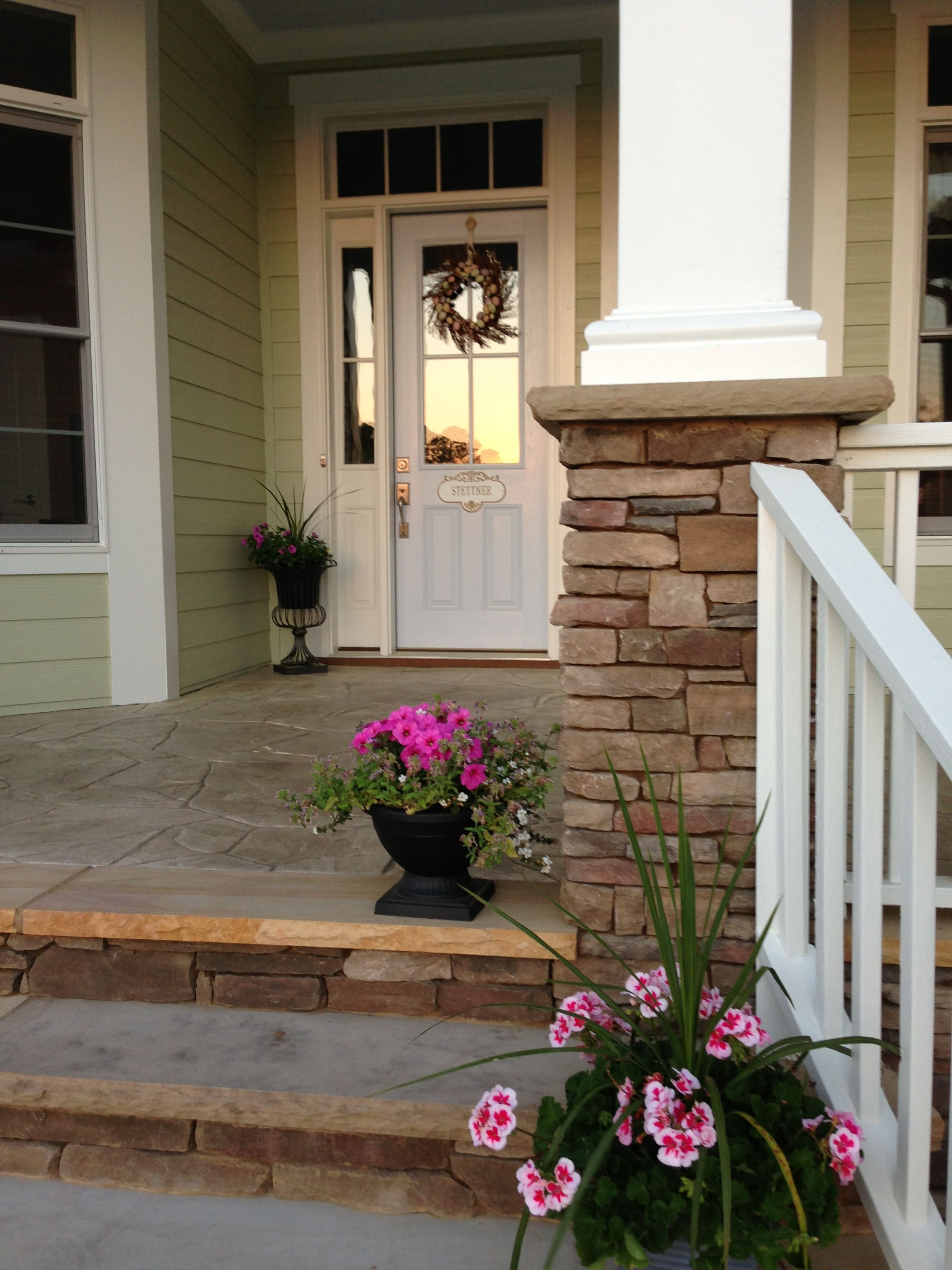 Front Porch. Stacked Stone Step