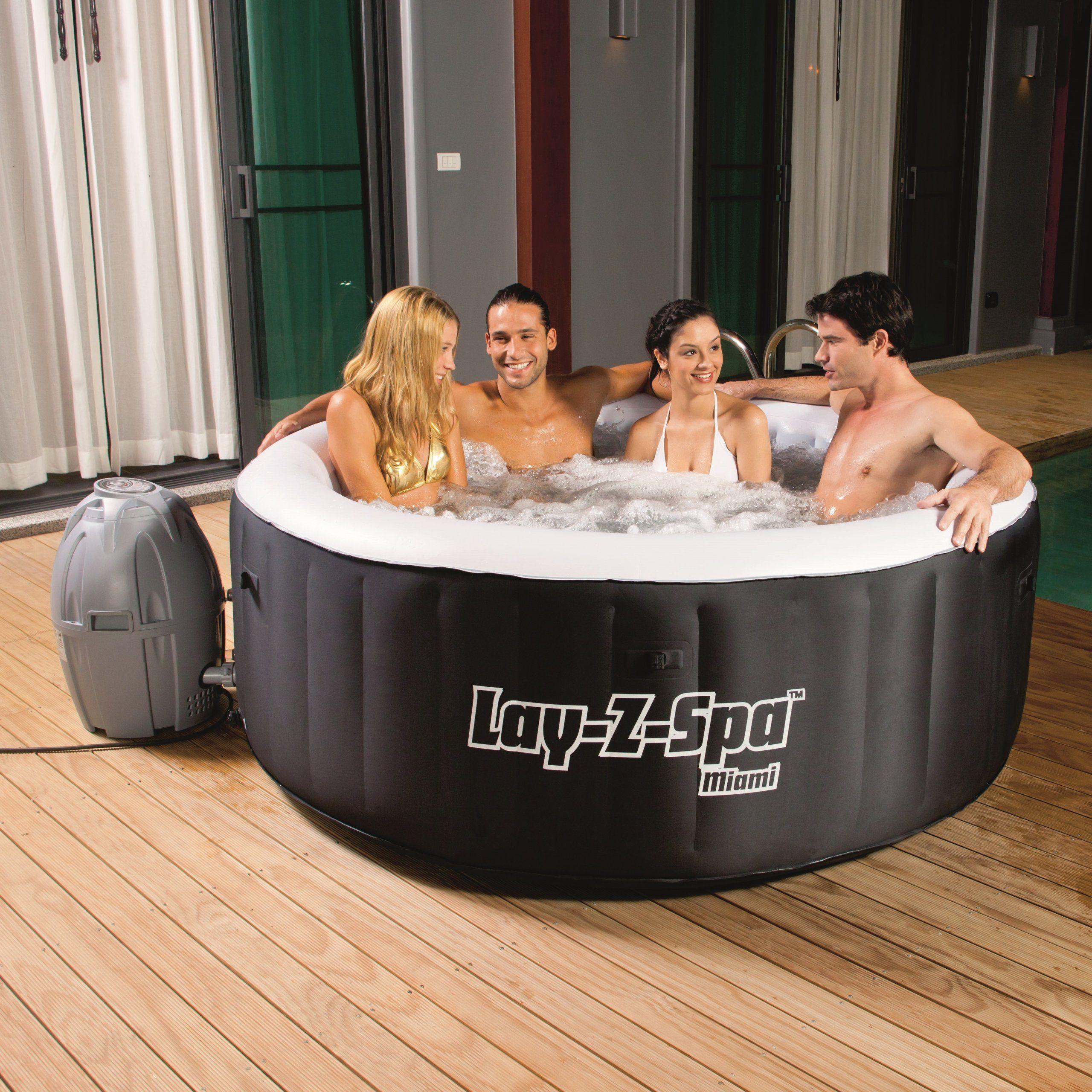 Amazon Com Bestway Lay Z Spa Miami Inflatable Hot Tub Patio Lawn Garden Portable Hot Tub Best Inflatable Hot Tub Inflatable Spas