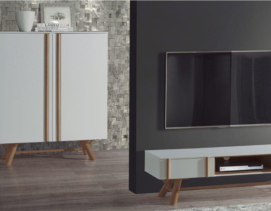Meuble TV scandinave blanc laqué et pin OTRA Meubles de style