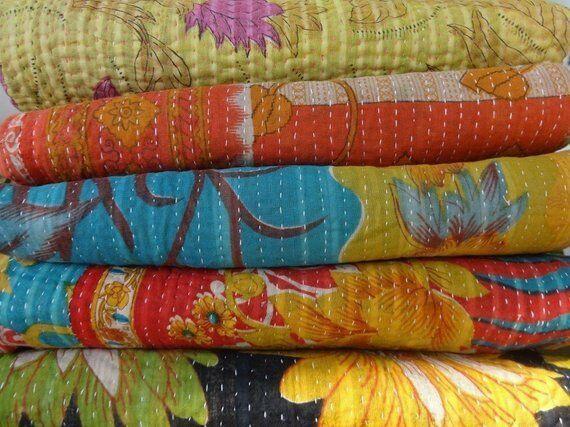 Kantha Quilt Handmade Indian Vintage Throw Reversible Blanket Bedspread 1 PC Lot