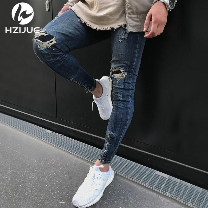 a66c90f6904 HZIJUE 2018 Famous Designer Brand Slim Fit Destroyed Torn Jean Pants For Male  Black Ripped Jeans Men With Holes Super Skinny  MensJeans
