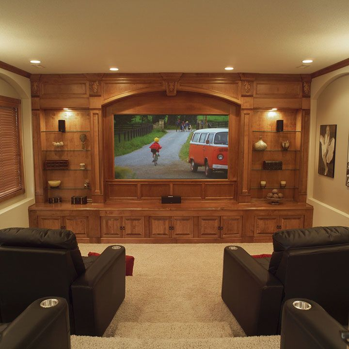 Let 39 s party customize your basement into something for Home theater basement design ideas