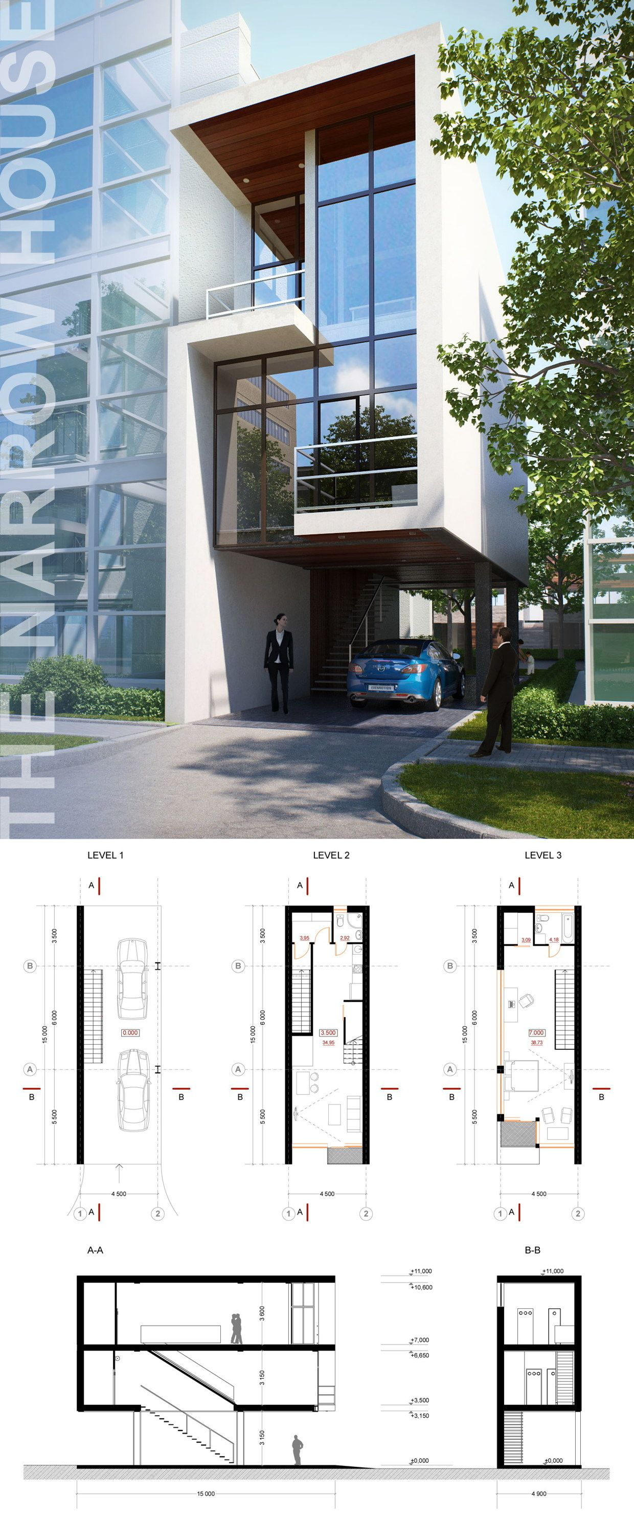 The narrow house on behance my narrow house plan for Narrow modern house