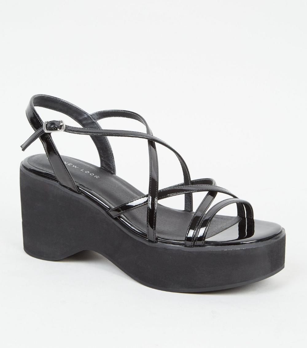 strappy platform sandals black