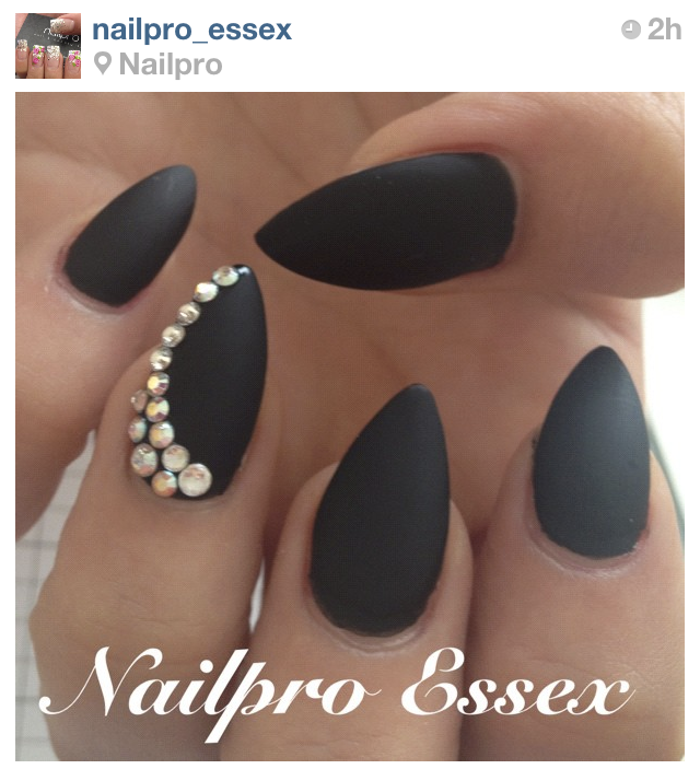 Matte Black Almond Nails w/ Rhinestone Accent | Beauty | Pinterest ...