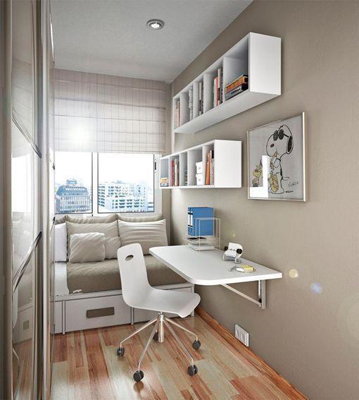 cmo decorar estrechas y alargadas dormitorio con zona de trabajo