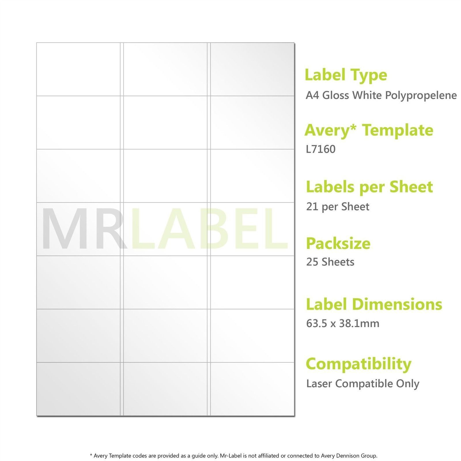 A4 Gloss White Pp Labels 21 Per Sheet 25 Sheets Laser Compatible L7160 With Label Template 21 Per Sheet Best Tem Label Templates Templates Sheet Labels