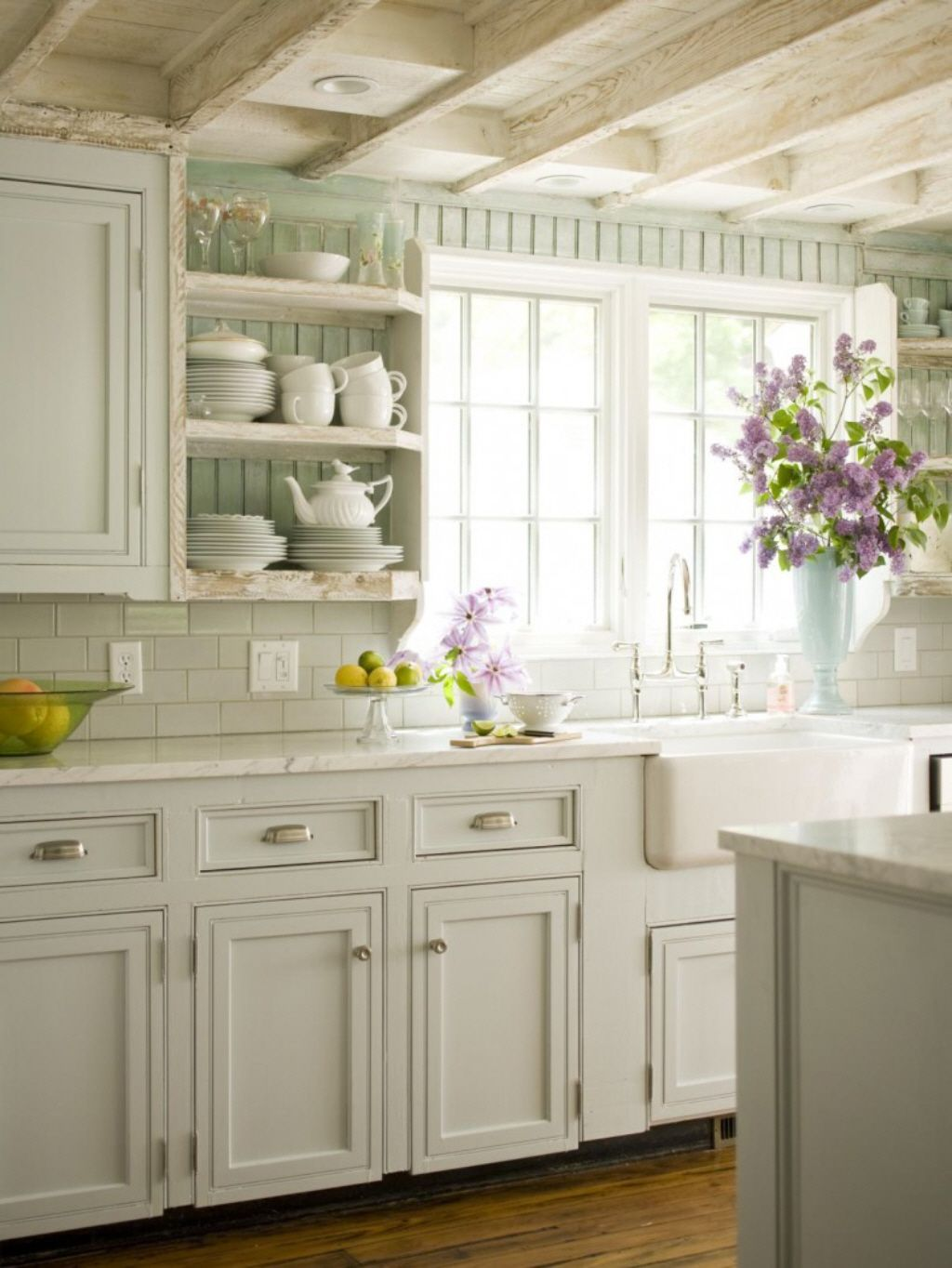 Love all this whiteware in this white french country kitchen