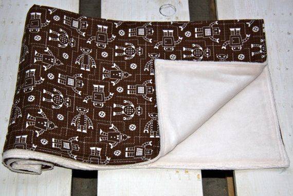 Adorable Cotton and Minky Blanket Travel Size by ChubbyLove, $25.00