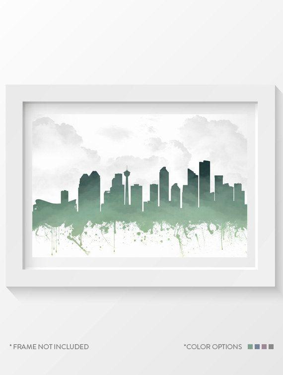 Calgary Poster Calgary Skyline Calgary Cityscape Calgary Print