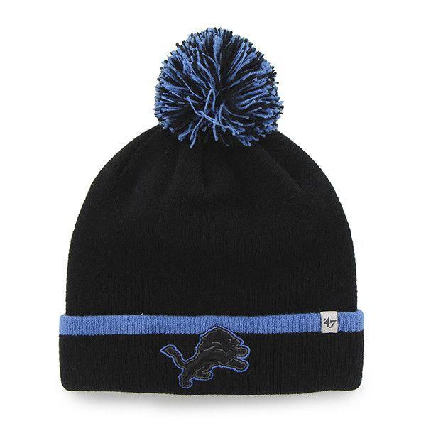 a0b248ff3190d Detroit Lions 47 Brand Black Blue Baraka Knit Cuffed Poofball Beanie Hat Cap