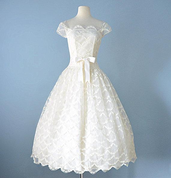 1950s Wedding Dress...LORRIE DEB Ivory Lace Ballerina Length Wedding ...