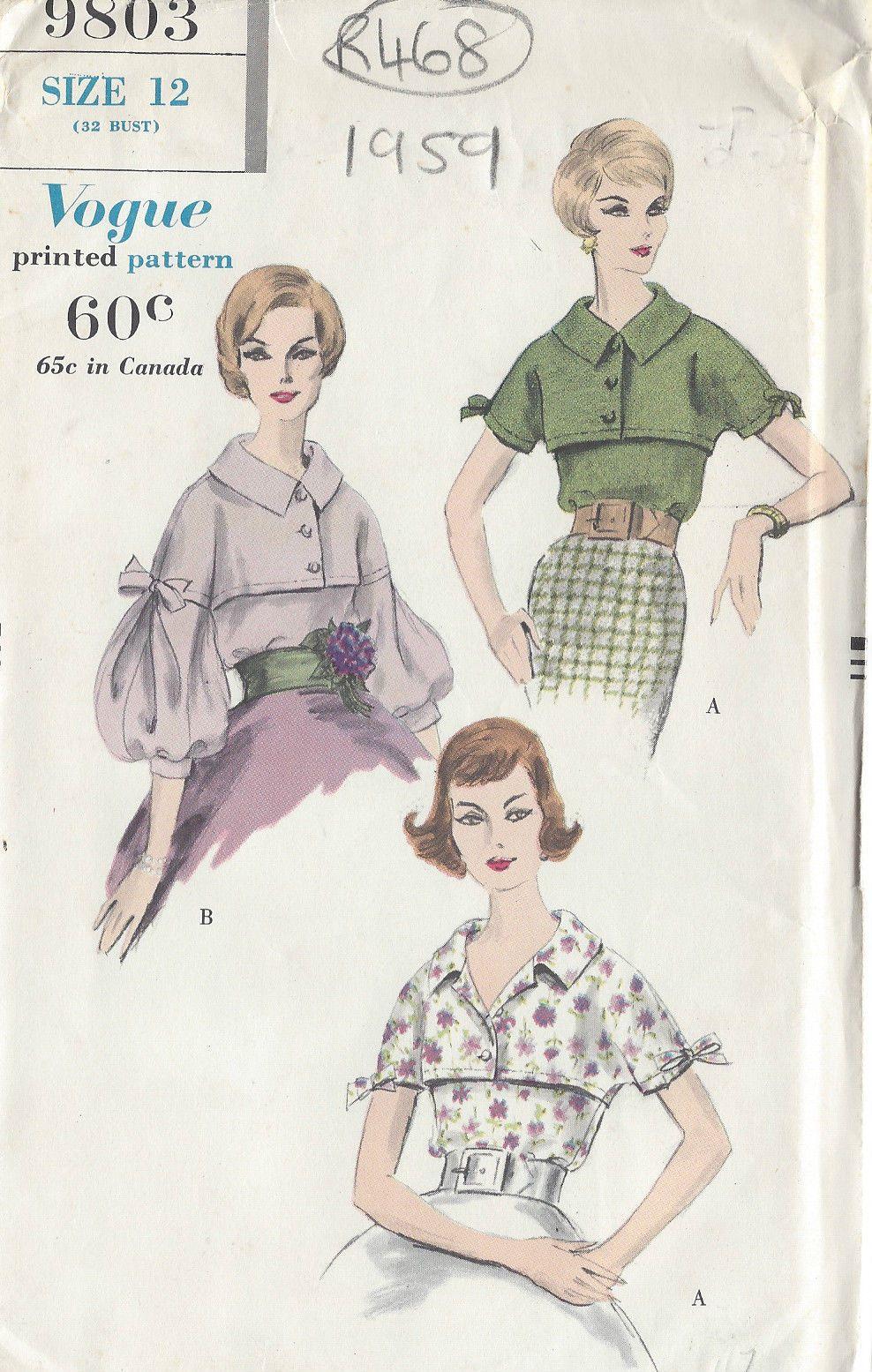 1959 Vintage VOGUE Sewing Pattern BLOUSE B32\