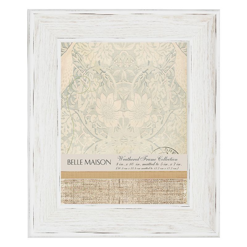 Belle Maison 8\'\' x 10\'\' Distressed Frame, White | Belle and Products