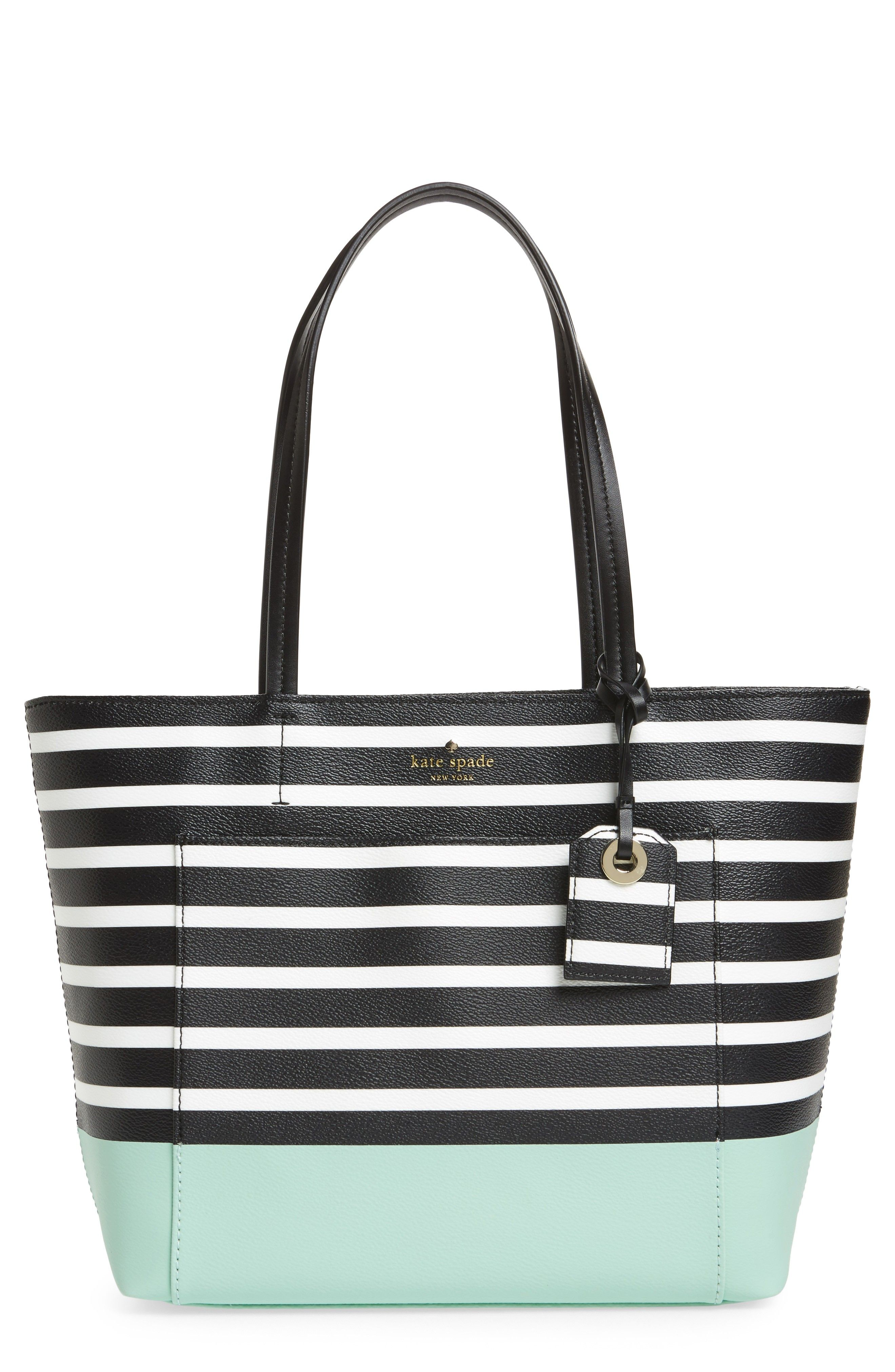 3ef700d34 Loving this striped tote with mint bottom. Loving this striped tote with  mint bottom Michael Kors Bag, Kate Spade ...