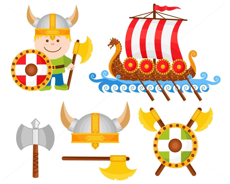 little viking vector illustration set digital illustration