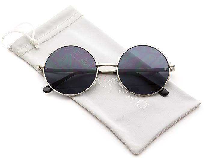 e106f0b92d9 Amazon.com  WearMe Pro - Colorful Tinted Retro Circle Sunglasses (Gold Frame