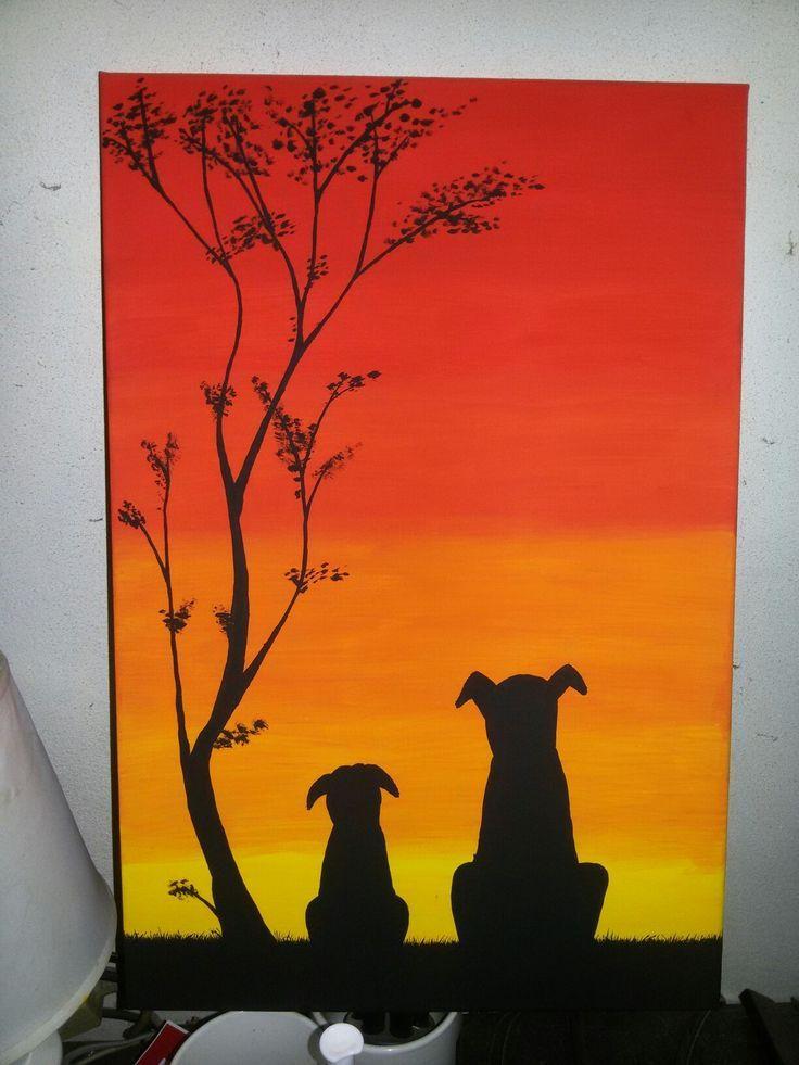 Pintura Perros Atardecer Atardecer Perros Pintura Peinture Tutoriels De Peinture De Toile Art De La Peinture