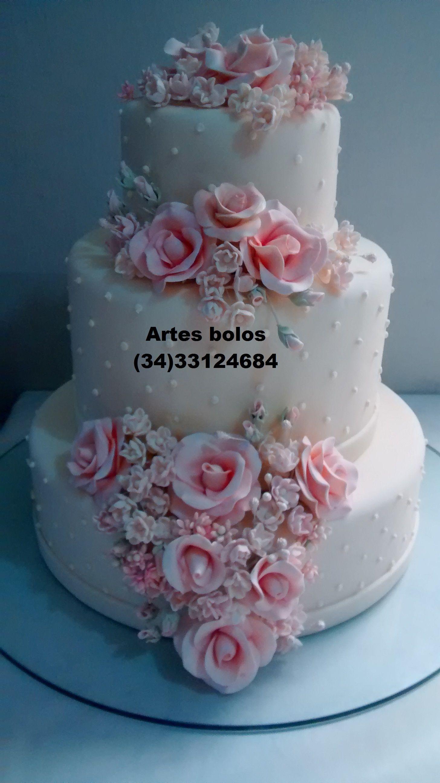 bolo com rosas