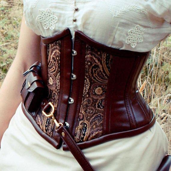 Steampunk utility corset , underbust bronze steampunk costume Neo-Victorian, coutil, steel-boning $290