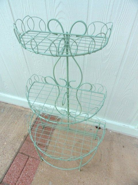 Vintage French Wire Side Table Plant Stand Curio Shelf Country Green ...