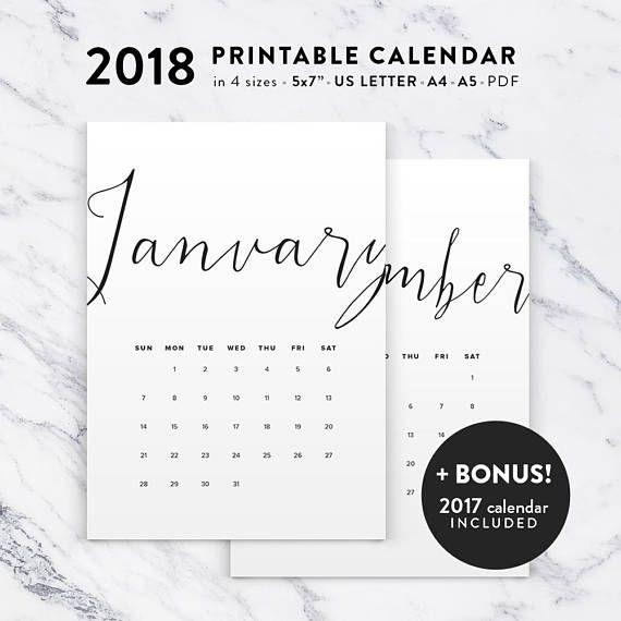 2018 Calendar 2018 Printable Calendar 2018 Printable Calendar PDF - printable calendar pdf