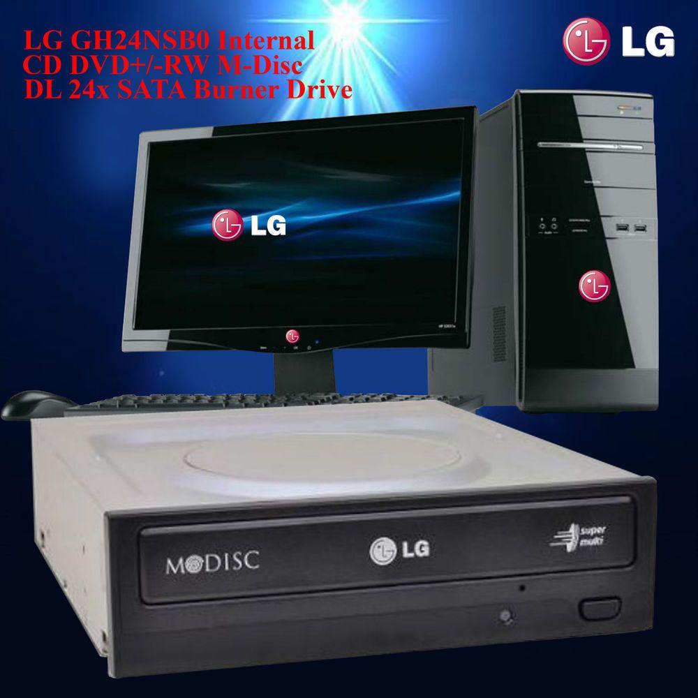 LG GH24NSB0 Internal CD DVD+/-RW M-Disc DL 24x SATA Burner Drive Refurbished #LG