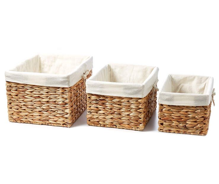 Home Essentials Natural Water Hyacinth Baskets With Liner At Big