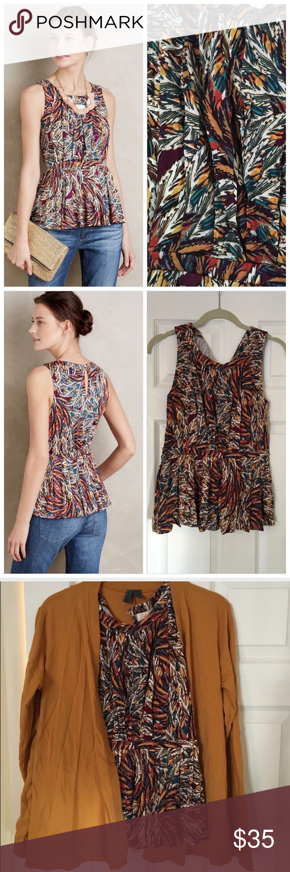 """Anthropologie Corbara Peplum Tank Rayon, spandex. Pleat detail. Machine wash.  26""""L. By Deletta. Like new - worn once with Swing Cardigan also available in my closet 😊 Anthropologie Tops Tank Tops"""