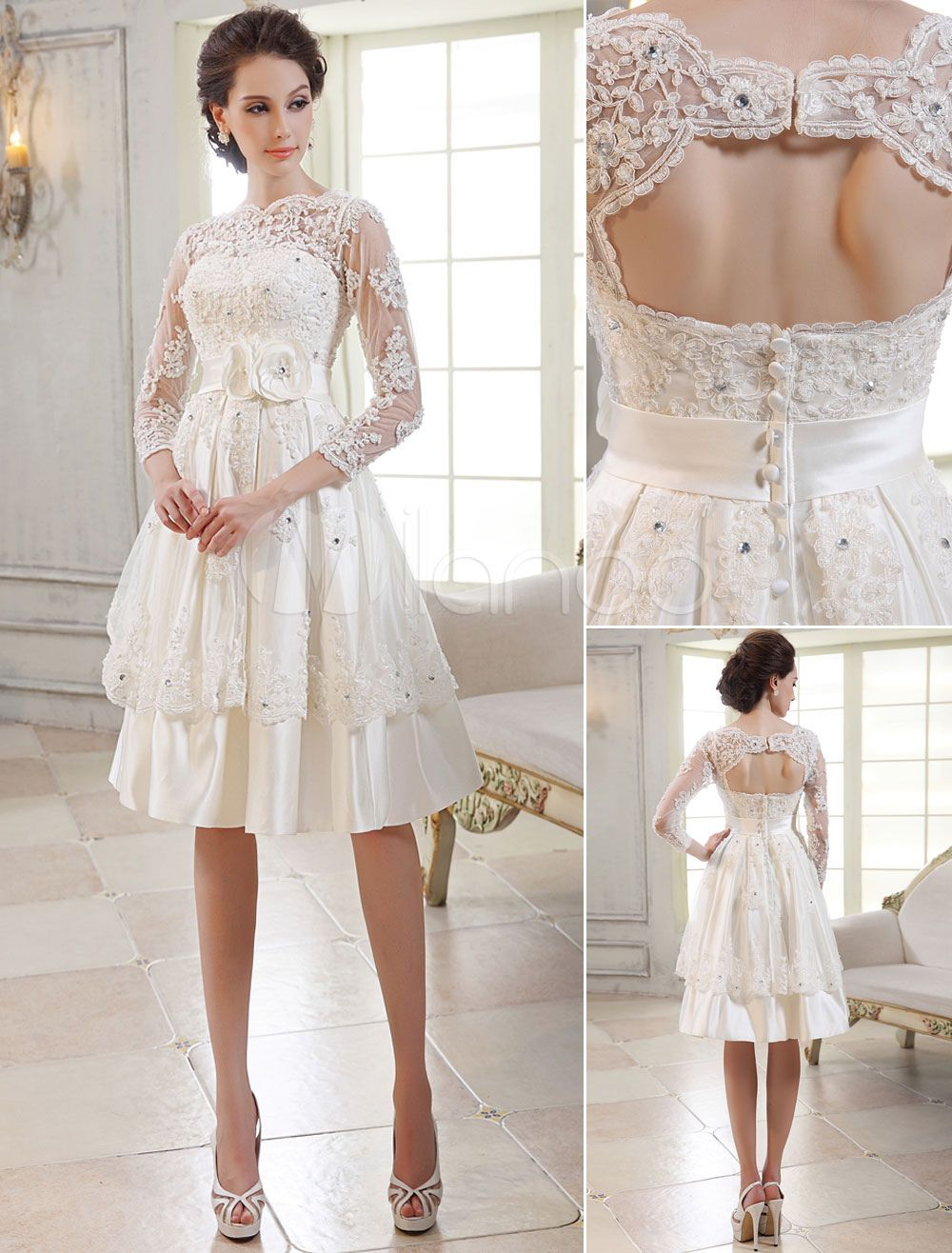 Vintage Wedding Dresses 1950\'s Short Bridal Dress Lace Applique Long ...
