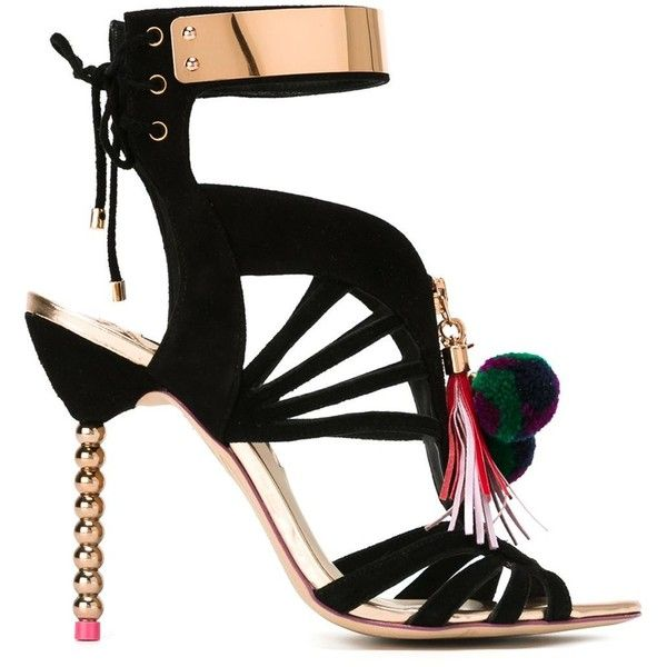 Sophia Webster Yasmina Sandals (43,815 THB) ❤ liked on Polyvore featuring shoes, sandals, black, black leather shoes, sophia webster shoes, real leather shoes, kohl shoes and leather sandals