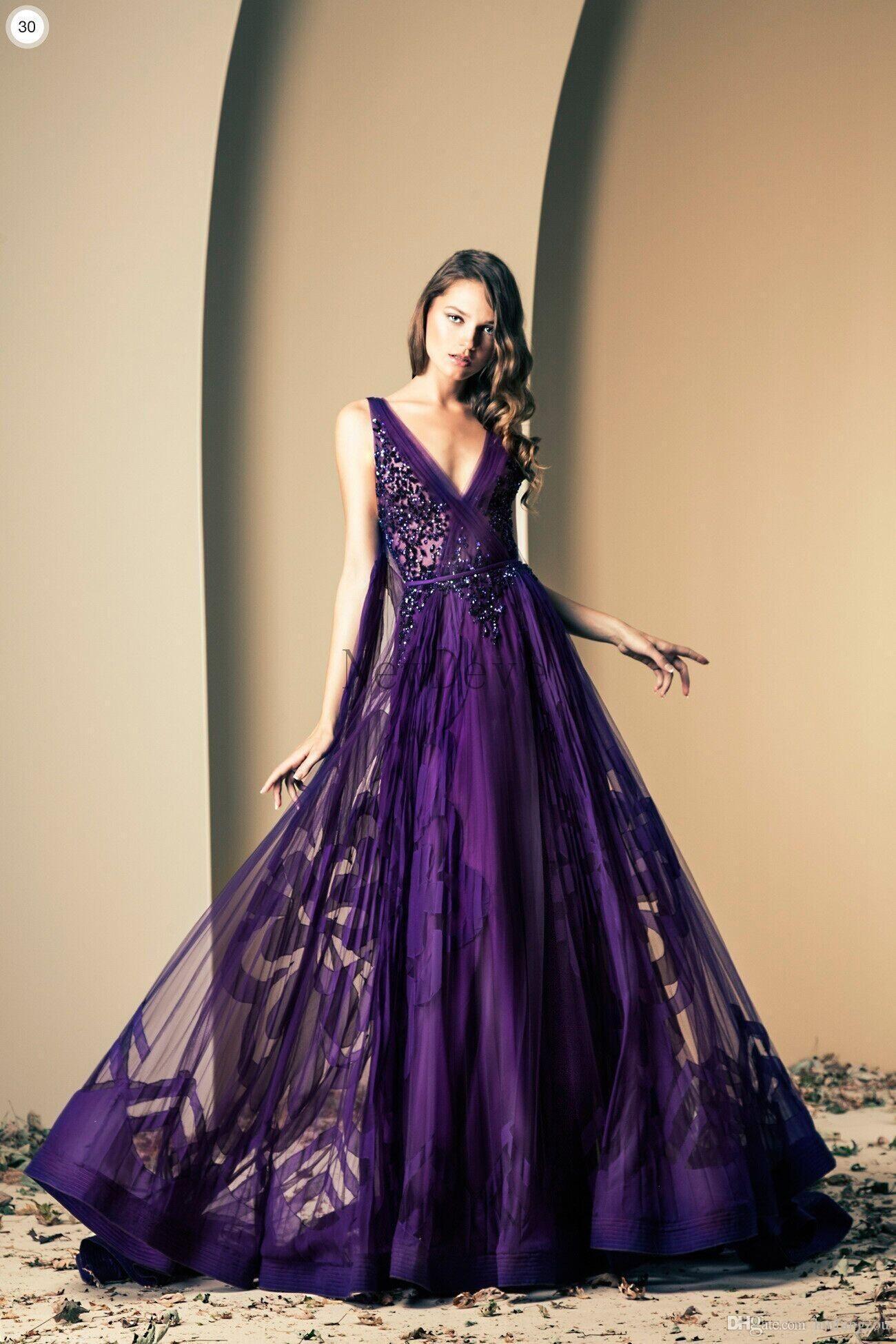 ziad nakad purple print prom dresses flowers v neck tulle