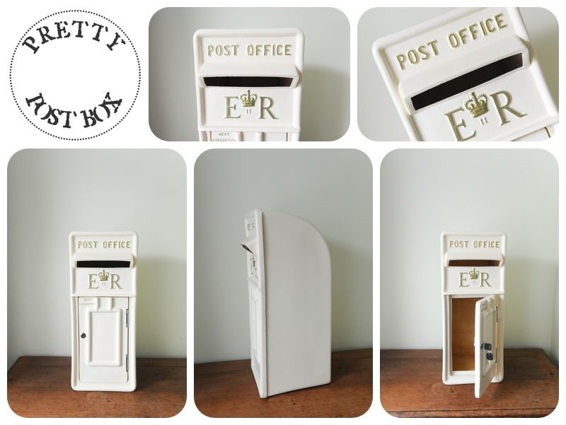 Our Cream Royal Mail Style Post Box With Gold Lettering