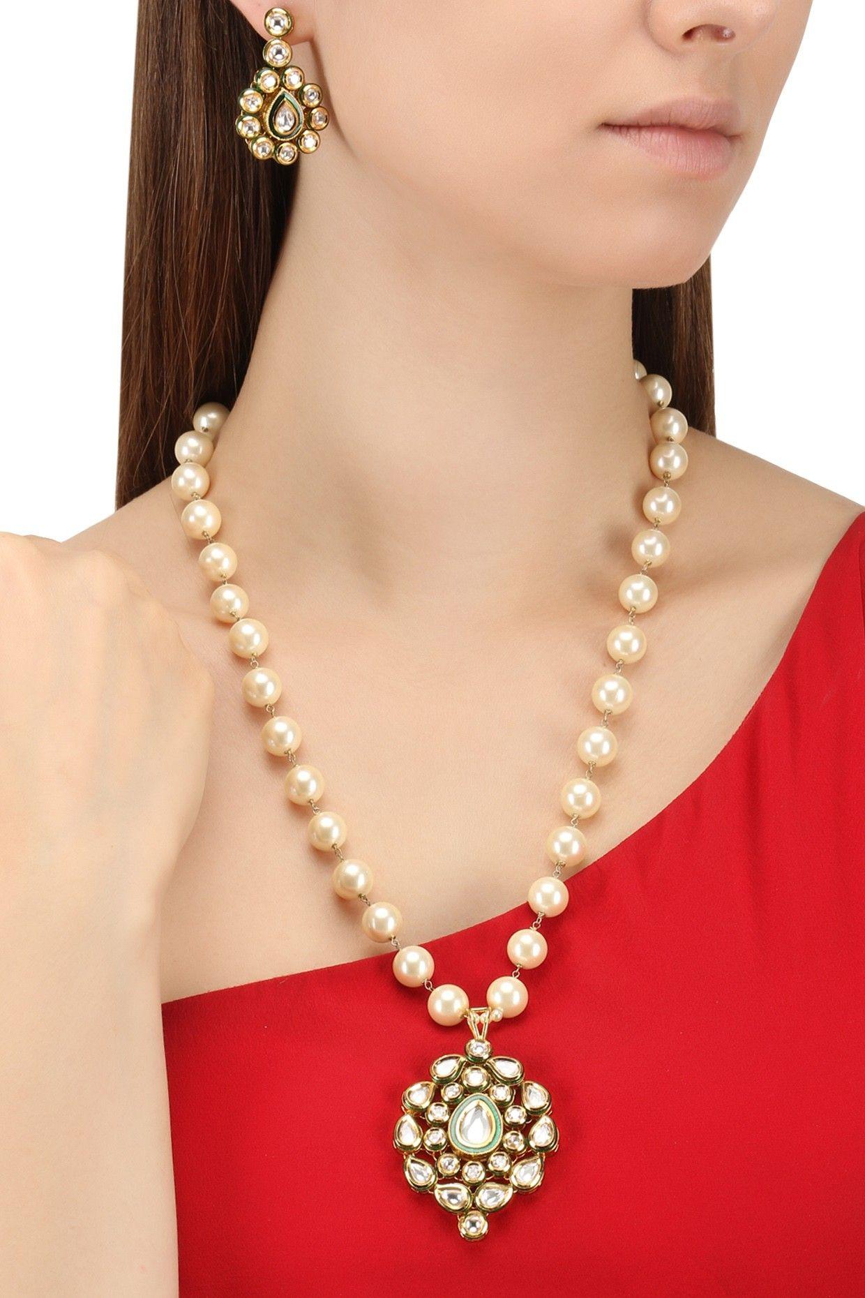 Zevar by geeta gold finish kundan and pearls pendant set shop now