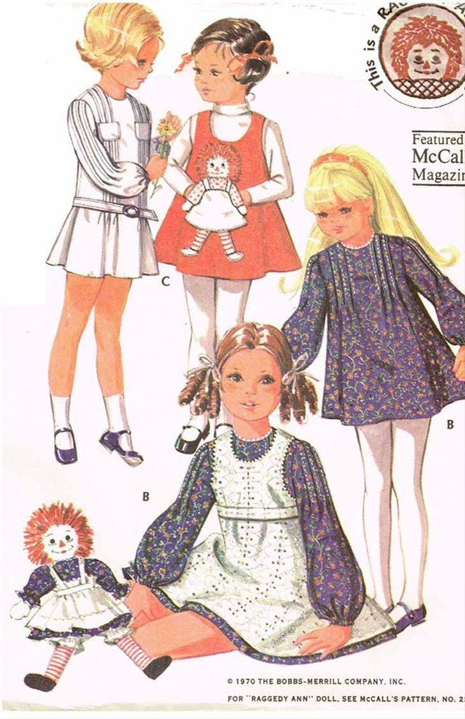 1970s Vintage McCalls Sewing Pattern 2530 Toddler Girls Raggedy Ann ...