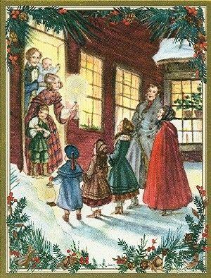 here we come acaroling caspari christmas cards tasha tudor - Caspari Christmas Cards