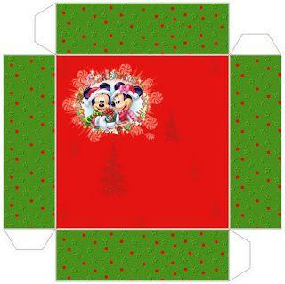 Cajitas imprimibles navideñas de Minnie y Mickey. Navidad.