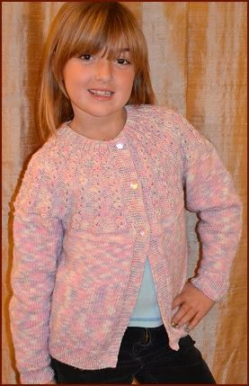 Girl's Cardigan Free Knitting Pattern with Pretty Yoke  Free